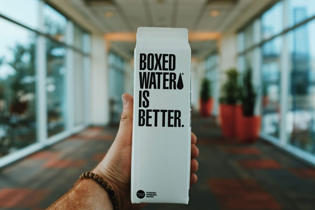 An image of Boxed Water Branding in Portland